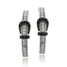 925 Sterling Silver Black Spinel Buckle Half Hoop Earring