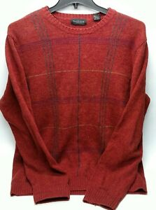 Van Huesen Mens Sweater Size Large Knit 100% Cotton Red Stripes