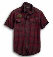 Harley Davidson Men's 1 Eagle Plaid Short-Sleeve Shirt, Red, 96648-19VM, Medium