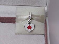 New w/Box & Tags Pandora Japan Flag Heart Enamel Dangle Charm 791553ENMX