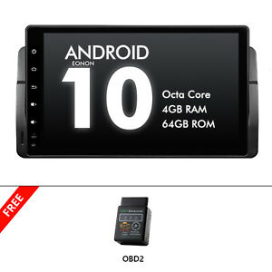 """OBD2+Android 10 9"""" 4+64G IPS Car GPS Head Unit Radio For BMW E46 3 Series 320 M3"""