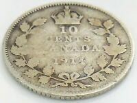 1914 Canada Ten 10 Cents Silver Dime Canadian Circulated George V Coin J963