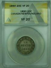 1890 Canda-Newfoundland 20c 20 Cents ANACS VF-20