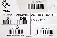 Zebra 10010032 Label Paper 4 x 3in Direct Thermal Zebra Z-Perform 2000D 1 in