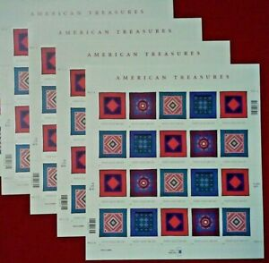 Four Sheets x 20 = 80 AMERICAN TREASURES AMISH QUILT 34¢ US USA Stamps 3524-3527