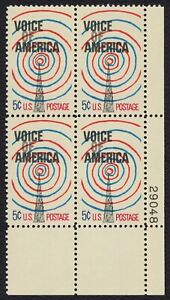 #1329 5c Voice of America, Plate Block [29048 LR], Mint **ANY 4=FREE SHIPPING**