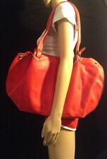 KARIA Large Red Faux Leather Tote With Matching Makeup Bag B#17
