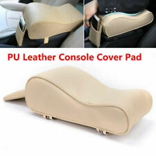 PU Leather Beige Car Armrest Pad Center Console Cushion Mat Cover Protector New