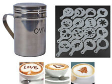 LIVIVO S/STEEL CHOCOLATE SHAKER DUSTER + 16 CAPPUCCINO COFFEE BARISTA STENCILS