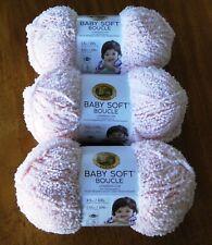 "Lion Brand ""Baby Soft Boucle"" Yarn Lot Of 3 Skeins Ballet Pink 3.5 oz. Darling!"