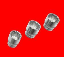 """3 Stück Kurze 1/2"""" Stecknuss Steckschlüssel 12-KANT Nuss Gr. 10mm 13mm 15mm YT"""