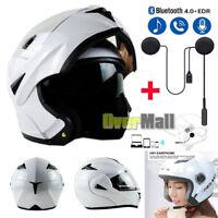 DOT Motorcycle Dual Visor Flip up Modular Full Face Helmet Gloss White + Headset