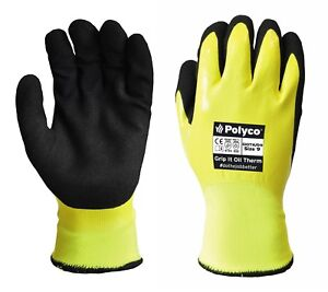 10 Pairs Polyco Grip-It Oil Work Safety Gloves Waterproof Thermal Gripper Gloves