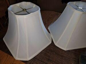 LOVELY Pair Of Medium Sized WHITE Linen CUT CORNER SQUARED BELL Lamp Shades!