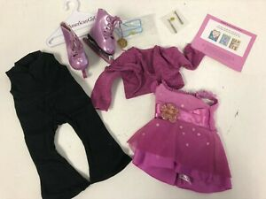 *NEW* American Girl 2 in 1 Ice Skating Outfit Pink Dress Purple Skates NIB RARE