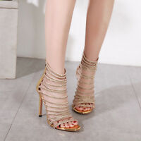 Women Rhinestone High Heels Open Toe Gladiator Sandals Boho Stiletto Party Shoes