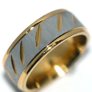 Carved tribal Indian stainless steel 2-tone mens womens party band ring rings 9