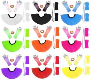 NEON TUTU GLOVES LEG WARMERS AND BEADS I LOVE 80S FANCY DRESS HEN PARTY COSTUME