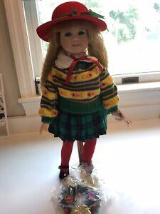 """Vintage Kingstate Dollcrafter Joy 18"""" Porcelain Doll w/ Plaid Skirt & Red Hat"""