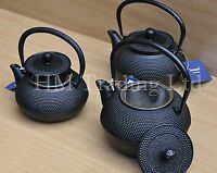 0.6/0.8/1.2 Ltr Tetsubin Japanese Style Cast Iron Black Hobnail Tea pot Kettle