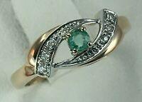 Vintage Original Rose Gold 585 14K Ring With Emerald & Diamond, Gold Ring 585