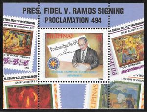 Philippines 1995 President Ramos Signing Proclamation 494 Souvenir Sheet - MNH