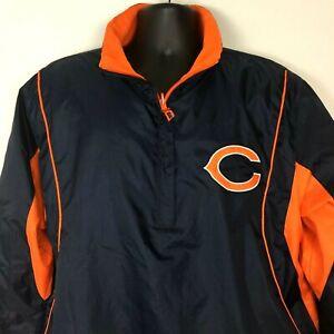 Chicago Bears NFL Team Apparel Jacket Mens Medium Blue Orange 1/4 Zip 2008