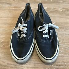 Vintage Made In Usa Vans 80s Black Authentic Style 44 Canvas Mens 7.5? Skate