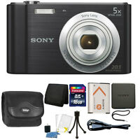 Sony Cyber-shot DSC-W800 20.1MP Digital Camera 5x Zoom Black + 16GB Accessories