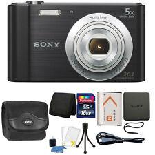 Sony Cyber-shot DSC-W800 20.1MP Digital Camera 5x Zoom Black + 16GB Accessories