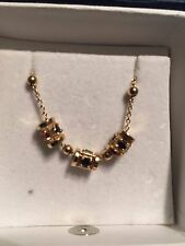 Vintage 14K Sapphire Emerald Ruby Slide Necklace Chain 5 Grams