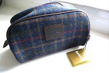Nuevo Barbour azul marino tartán de Lujo Lana Cuero & Bolsa Washbag Etiquetas De Inodoro Reino Unido hizo