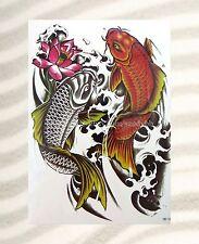 "RED KOI koi fish carp fish  extra large size 8.25""arm tattoo temporary body art"