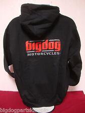BIG DOG MOTORCYCLES 2-x LARGE BLACK SWEATSHIRT SIGNATURE LOGO FRONT/BACK DESIGN