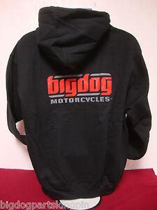 BIG DOG MOTORCYCLES 2XL SWEATSHIRT HOODIE BLK SIGNATURE LOGO FRONT/BACK DESIGN
