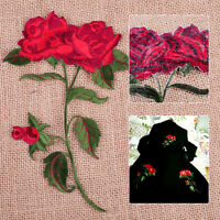 DIY Red Rose Flower Embroidered Applique Iron on Sew Clothing Jacket Jeans Badge