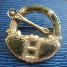Scottish / Irish Silver & Connemara Marble Celtic Hunterston Brooch h/m 1923
