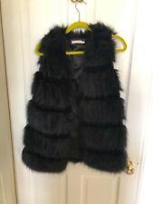 Vera & Lucy Black Faux Fur Gilet, Size S/M