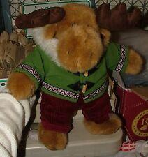 """CUTE Dan Dee Vintage Stuffed 12"""" MOOSE in Hoodie Toggles Fur Trim Corduroy Pants"""