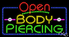"New ""Open Body Piercing"" 32x17 Solid/Animated Led Sign W/Custom Options 25558"