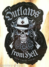 "Oldschool Ratrod Sticker ""Outlaws from Hell"" Schlagring Aufkleber US Auto Bike"