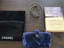 Authentic Chanel Blue Velvet Mini Clutch Long Chain Crossbody Bag EUC