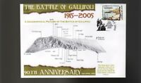90th ANNIV OF GALLIPOLI ANZAC DAY COV, BATTLEFIELD MAP
