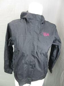 Mountain Hardwear Size M(10-12) Girls Black Hooded Windbreaker Jacket T294