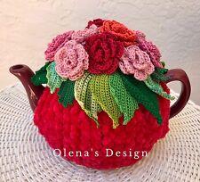 Crochet tea cozy red tea cover Red Pink Roses tea cosy tea warmer