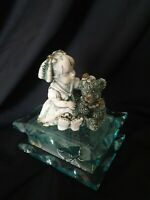 Murano Girl With Teddy Trinket Glass Box