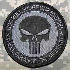 GOD WILL JUDGE OUR ENEMIES PUNISHER TACTICAL MORALE ACU DARK OP IRON ON PATCH 4""