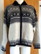Norm Thompson Womens Extra Large 100% Wool Sweater Jacket Black White Zip Up