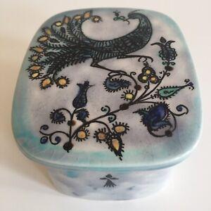 Scatola Da Gioielli Ceramica Emile Roccia San Renan Decoro Pavoni E Ermellino UK