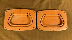 Pair of Vintage / Antique Recessed Drop Handles Trunk Chest Tool Box Hardware